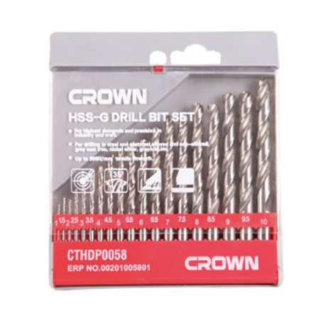 Coffret de Mèches à métal 1-10mm 19 PIèCES CROWN