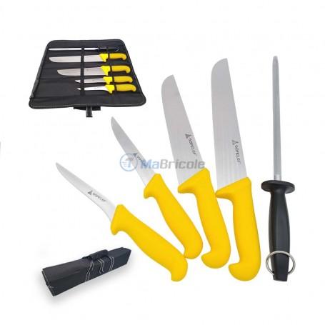 Kit de 4 couteau INOX et aiguiseure avec pochette SOFICLEF