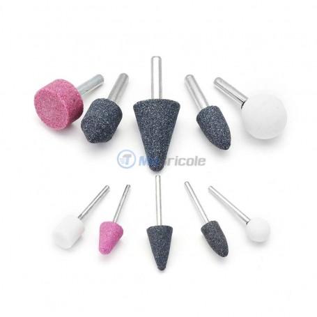 Jeu de 10 meules pierres abrasives tige 6mm MEGATEC