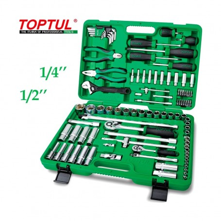 """Caisse à outils professionnelle clés, douilles et pinces 1/4"""" 1/2"""" 97 pcs TOPTUL"""