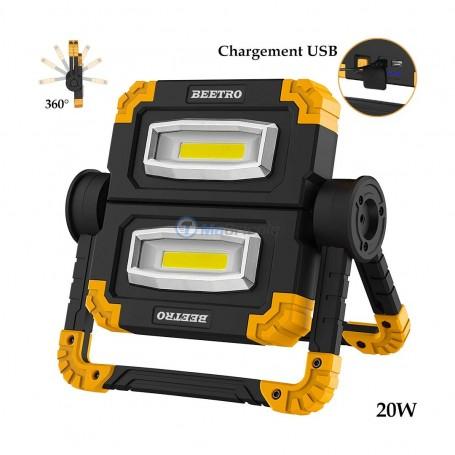 Projecteur portable, lampe de travail multi-position USB 20W BEETRO