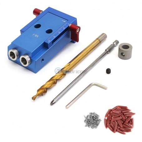 Gabarit de perçage de trou réglable 5-45mm , mèches à bois, embouts PH1 150mm 44 pièces