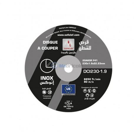 Disque à couper inox 230x1,9x22,23 SOFICLEF